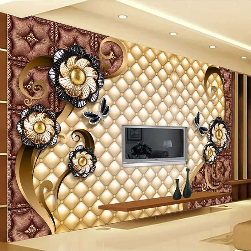 Custom Photo Mural Luxury Black Jewelry Flowers Soft Bag TV Background Wall Painting Living Room Bedroom 3D Embossed Wallpaper