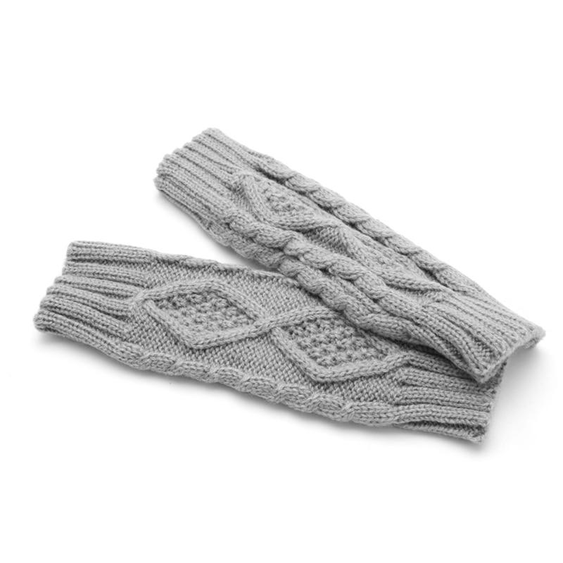 Winter Women Wrist Arm Hand Warmer Knitted Long Fingerless Gloves Mitten