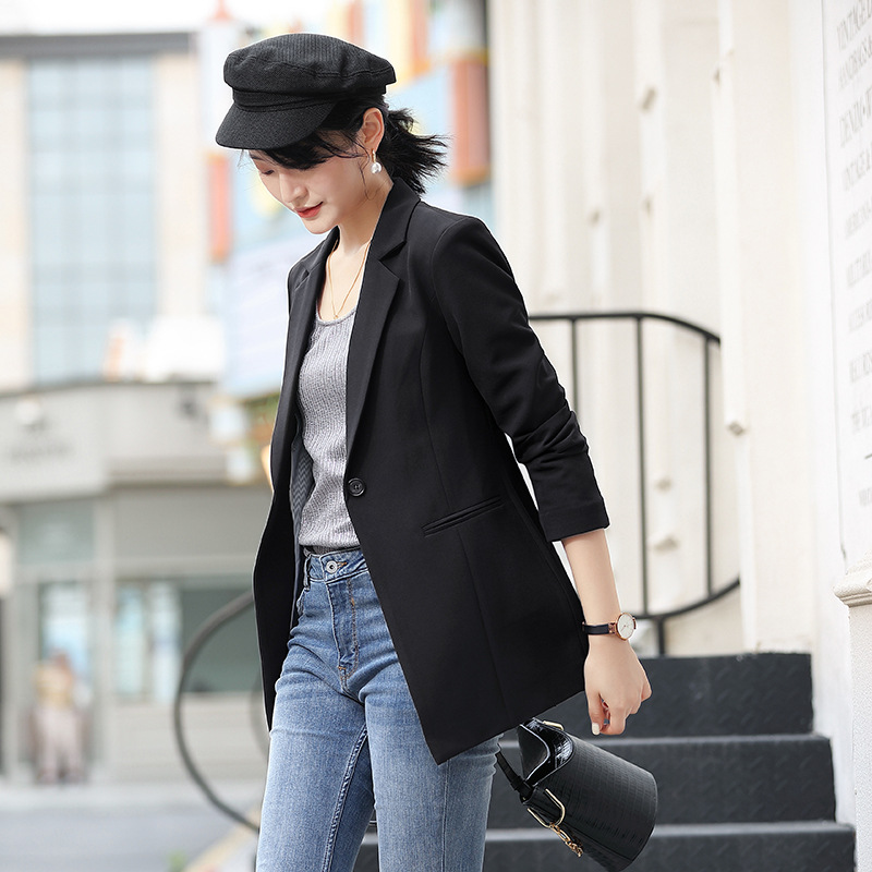 2020 Fashion Autumn Black Blazer Female Long Sleeve Office Ladies Blazer Jacket Women Outerwear Suit Coats Blazer Dress Pockets