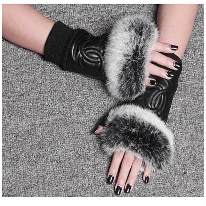 Winter Fashion Brand Famous Celebrities Women Genuine Leather Gloves Real Sheepskin Rabbit Fur Fingerless Gloves Female