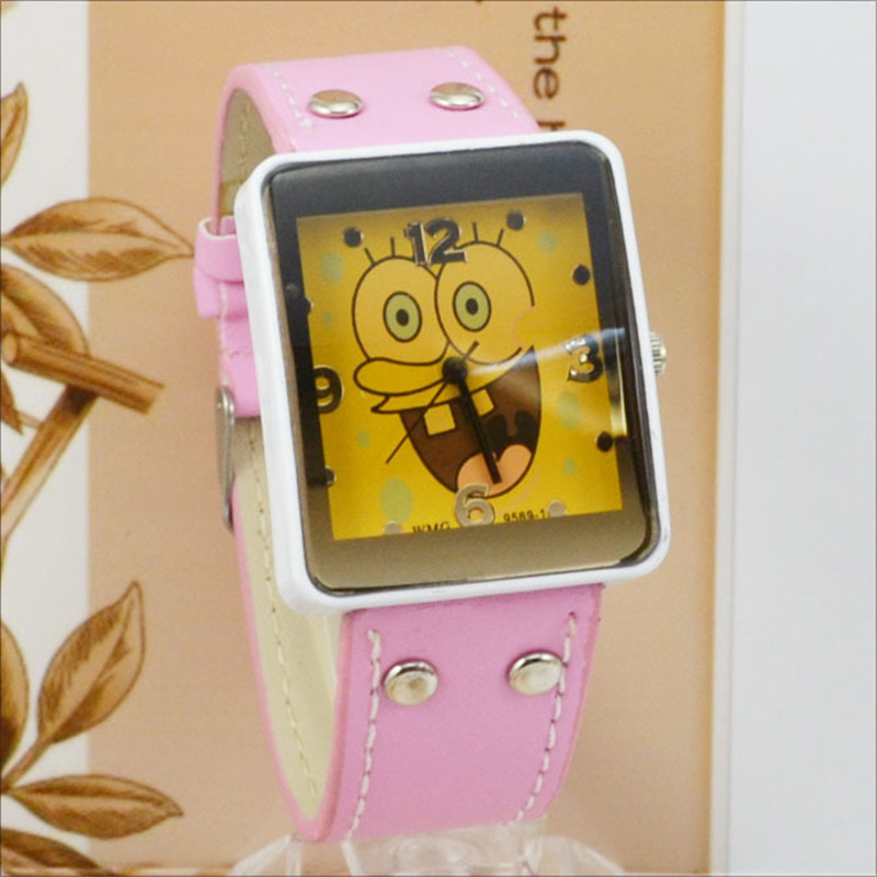 Fashion Cartoon Watches Children Watch Leather Strap Quartz Watch Fashion Rectangle Watches Women Montre Enfant WOMAGE