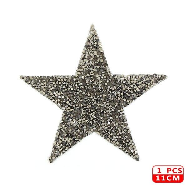 Стразы со звездами, смешанные размеры, нашивки, нашивки с вышивкой, термо-Стикеры для одежды, 5 видов цветов, блестки, нашивки для одежды, сделай сам - Цвет: 11cm Gray 1Pcs