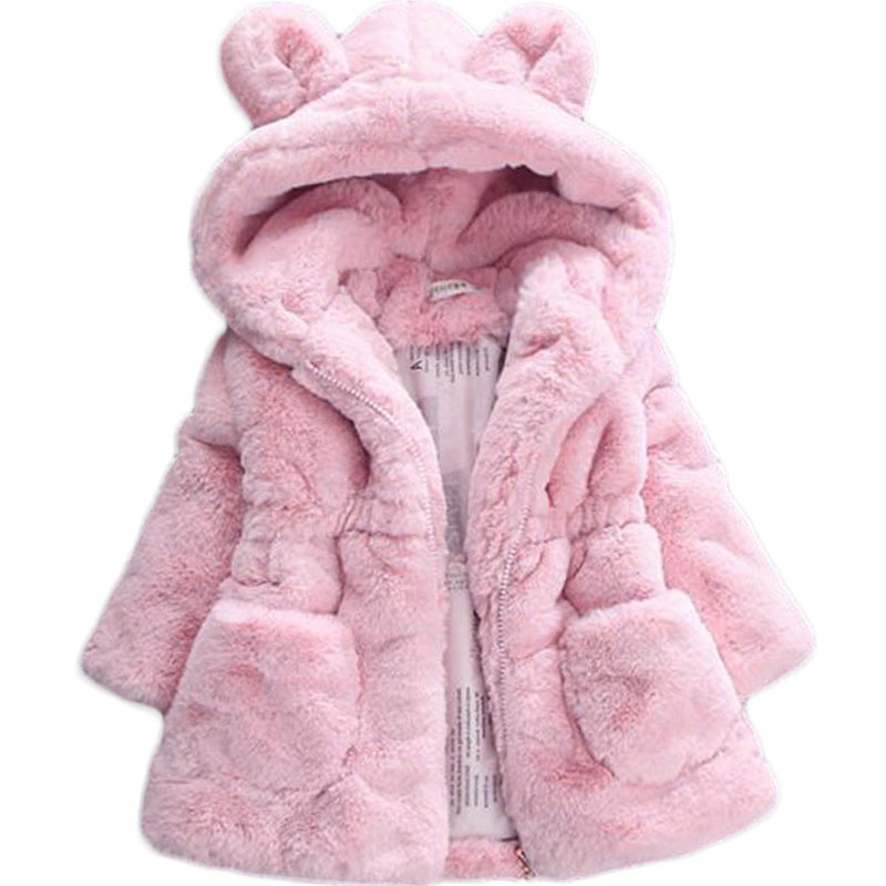 Winter full sleeve Leopard faux fox fur collar Children Girls coat Jacket Baby Girl Outerwear Hooded Infant Clothing Thick Warm 5