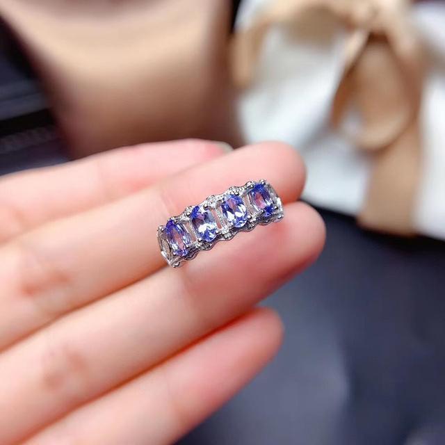 Pierścień z naturalnym tanzanitem S925 srebro biżuteria z białego złota naturalny kamień szlachetny biżuteria, prosty pierścionek damski z biżuterią