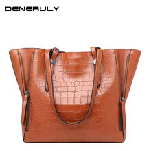 New Crocodile Leather Tote Bags For Women High Capacity Luxury Handbags Designer Stone Shoulder Bag High Quality Messenger Bags jmd vintage handbags women bag luxury high quality fashion crocodile tote bags handbags women huge capacity genuine leather bags