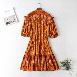 Image 4 - Vintage chic women Orange floral print lantern sleeve tassel beach  Bohemian mini dresses  Ladies V neck rayon Boho dress