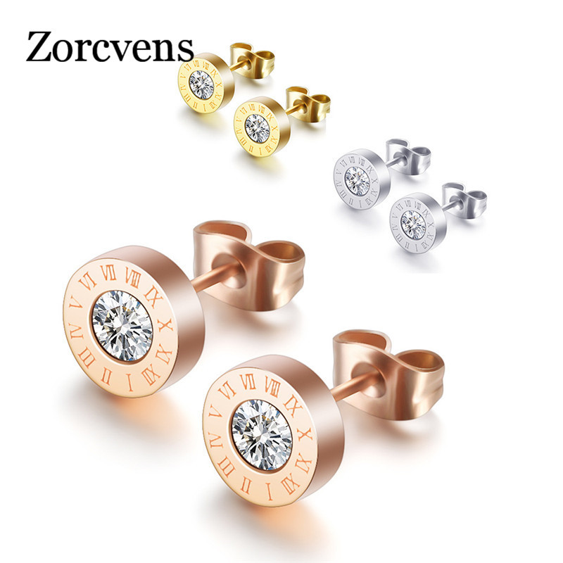 ZORCVENS Fashion New Stainless Steel Crystal Stud Earrings for Women Men Jewelry Vintage Roman Numerals Small Earrings Wholesale