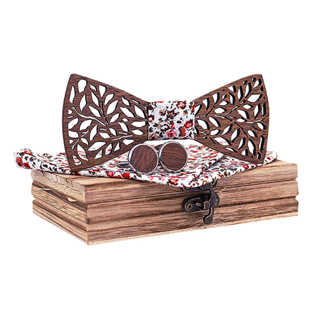 Womail 2019 Fashion Design Wooden Bow Tie Handkerchief Set Fits All Shirts Wooden Bow Tie Handkerchief Set New Style Men's Ties