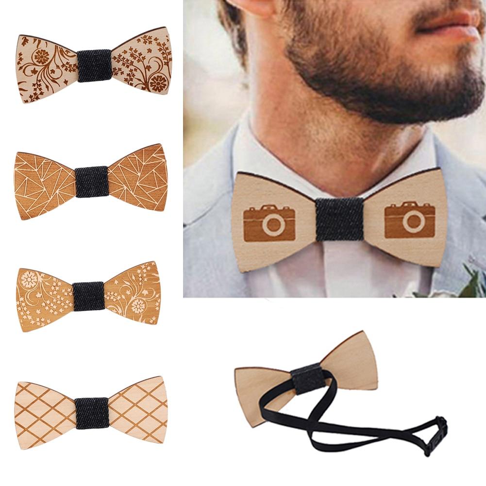 Hot Sale Men Wooden Bow Ties Gentleman Groom Wooden Necktie Butterfly Wedding Party Bow Ties New Butterfly Wooden Print Bow Tie