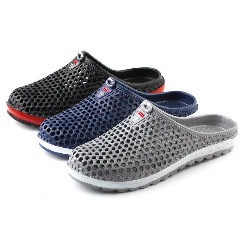 Summer Men Slippers 2019 Message Clogs Outdoor Garden Shoes Male Pool Sandals Bathroom Flip Flops Lightweight Mules Beach Slides