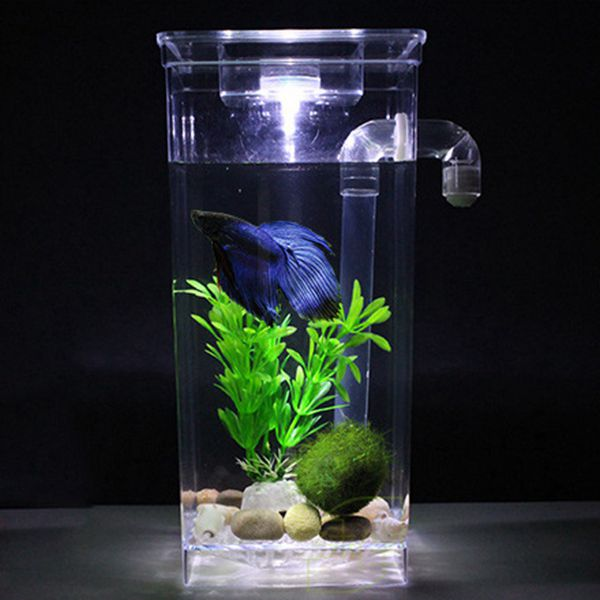 LED Mini Fish Tank Aquarium Self Cleaning Fish Tank Bowl Convenient Desk Aquarium for Office Home Decoration Pet Accessories
