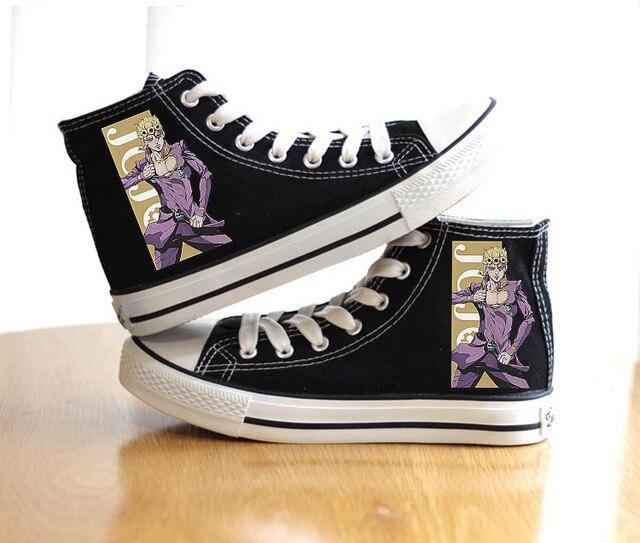 Unisex Anime Bizarre Adventure Shoes Cosplay VENTO AUREO Black Canvas Shoes plimsolls Duck Shoes 2