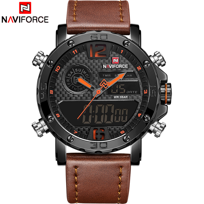 NAVIFORCE Men Watches Top Luxury Brand Men Leather Sport Watch Men's Quartz LED Digital Clock Military Wrist Watch Drop shipping 2
