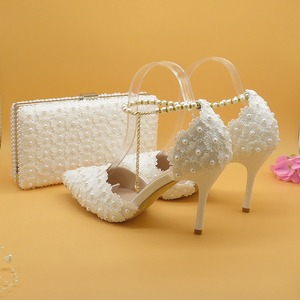 White Lace Flower wedding shoe