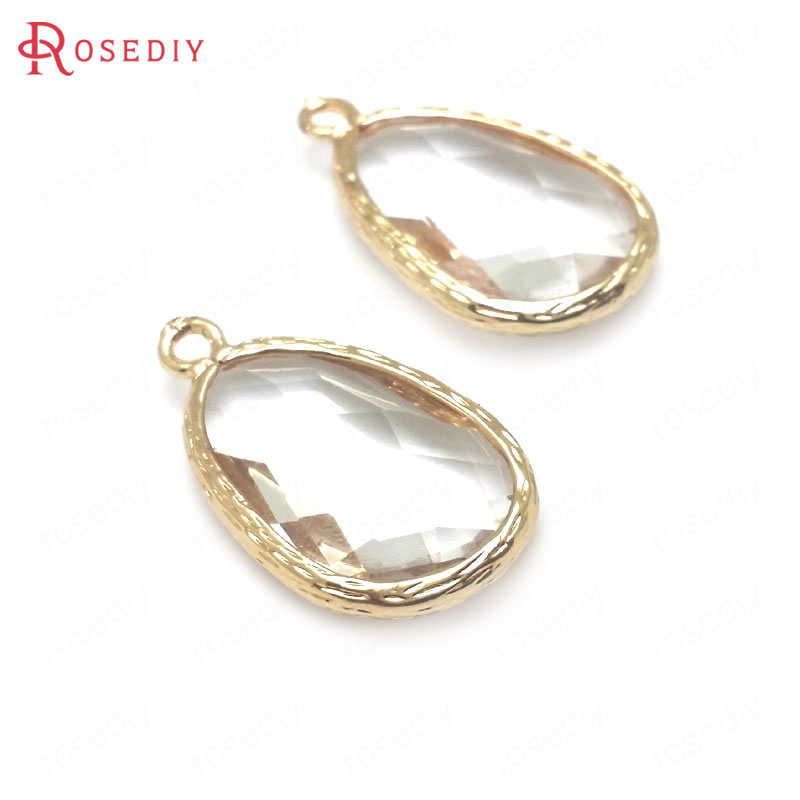 (<font><b>C602</b></font>)10 pieces 23x13mm 24K Champagne Gold Color Brass with White Glass Faceted Drop Shape Charms Pendants High Quality Findings image