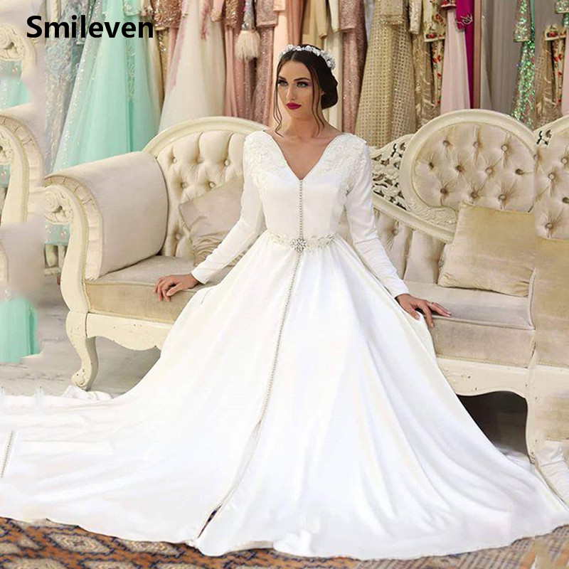Smileven Moroccan Caftan Evening Dresses V Neck Appliques Mother Dress Arabic Muslim Special Occasion Dresses Party Gowns