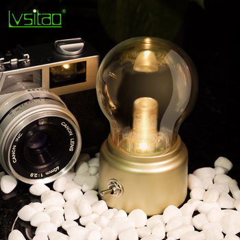Retro Bulb Night Light Creative Nostalgic USB Charging Living Room Study Bedroom Bedside Table Lamp Atmosphere Lamp bedroom study 3d light night light festival usb small table lamp originality acrylic atmosphere lamp gift decorate bedside lamp