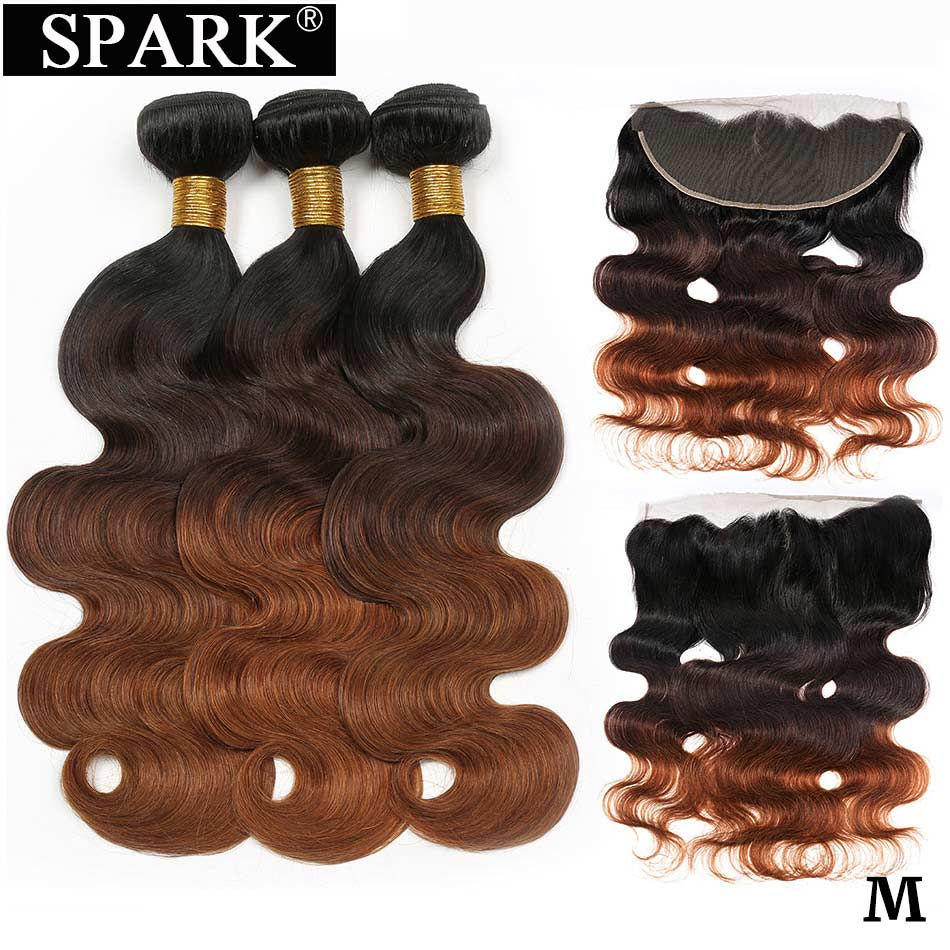 SPARK Human Hair Ombre Brazilian Body Wave Human Hair Bundles With Frontal Remy Human Hair Frontal With Bundles Medium Ratio