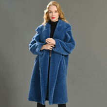 נשים 100% אמיתי כבשים Shearling מעיל מזדמן מעיל סתיו חורף ארוך שרוול דש פרווה הלבשה עליונה נשי צמר דובון מעיל