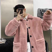 Mens cotton coat 2019 autumn and winter new thick lapels couple youth personality fashion trend mens clothing