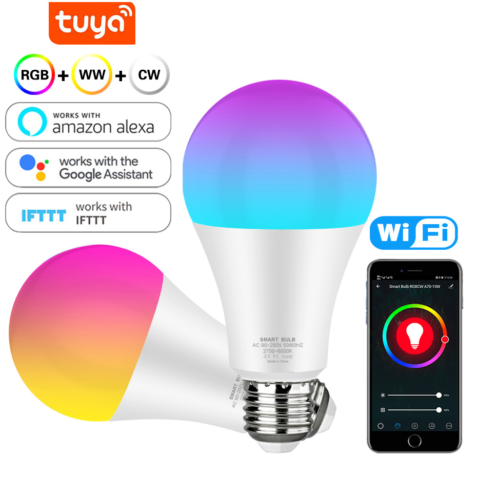 Smart Light Bulb 12w 15w Color Changing Wifi Hue Light E27 RGB LED Bulb Dimmable Alexa Compatible Tuya Smart Life APP Google