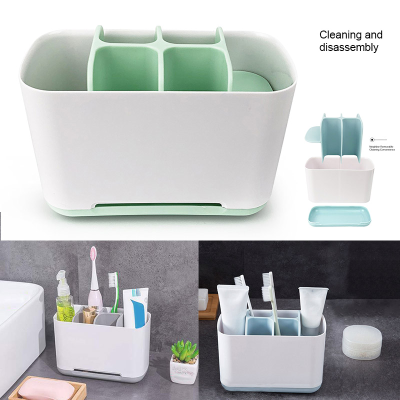 Electric Toothbrush Holder Bathroom Storage Organizer Simple Modern Style Large Size Storage Box with 6 Compartments BD image