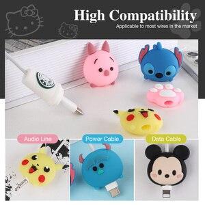 Image 4 - USB kablosu Minnie koruyucu hayvan sevimli karikatür kapak korumak için Iphone kablo kulaklık kablosu arkadaşlar cep telefonu dekor tel