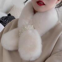 Weiche Designer Perle Faux Pelz Schal Frauen Winter Mode Dicke Warme Hals Schals 2021 Neue Damen Foulards Mädchen Zubehör