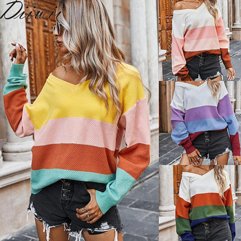 Diiwii Autumn and winter hot style European American womens fashion classic striped contrast sweater women