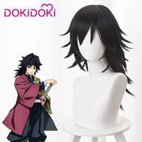 DokiDoki Anime Cosplay Wig Demon Slayer: Kimetsu no Yaiba Copslay Wig Tomioka Giyuu Hair Men Black Long Heat Resistant Hair