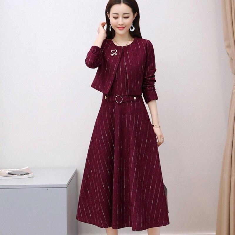 Elegant Women Two Piece Set Office Lady Twill Short Jacket Sleeveless Slim Dress Red Coats Belt Dress Womens Party Suits Autumn