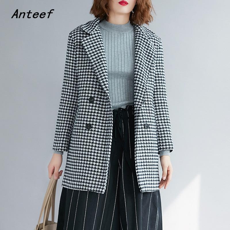 Long Sleeve Wool Plus Size Vintage Plaid Ladies Causal Loose Autumn Winter Blazer Women Jacket 2019 Clothes Coat