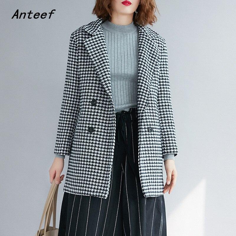 Long Sleeve Wool Plus Size Vintage Plaid Ladies Causal Loose Autumn Winter Blazer Women Jacket 2020 Clothes Coat
