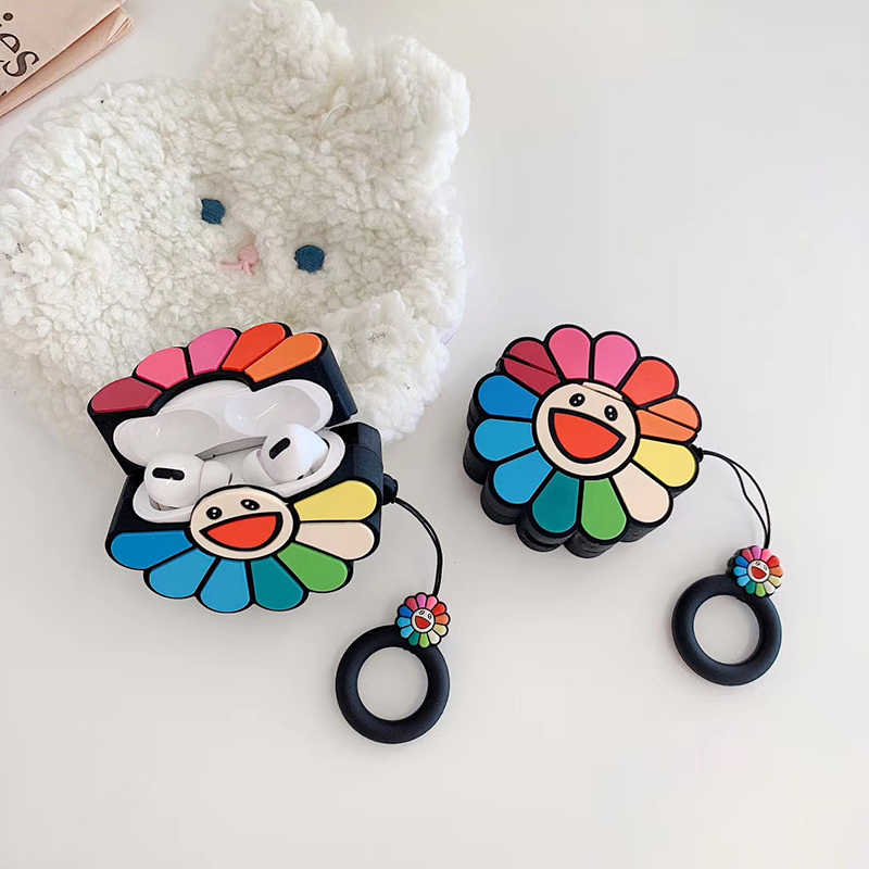 3D Takashi Murakami Kaikai Kiki Rainbow Flower Headphone Cases for Apple Airpods 1/2/3 Silicone Earphone Cover for airpods pro
