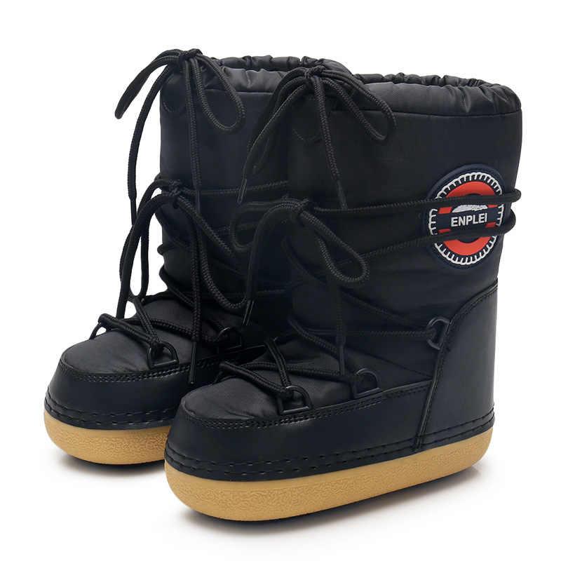 2019 kış kar botları kadın orta buzağı dantel-up pamuk sıcak su geçirmez kaymaz Platform patik kadın ayakkabısı artı boyutu 42