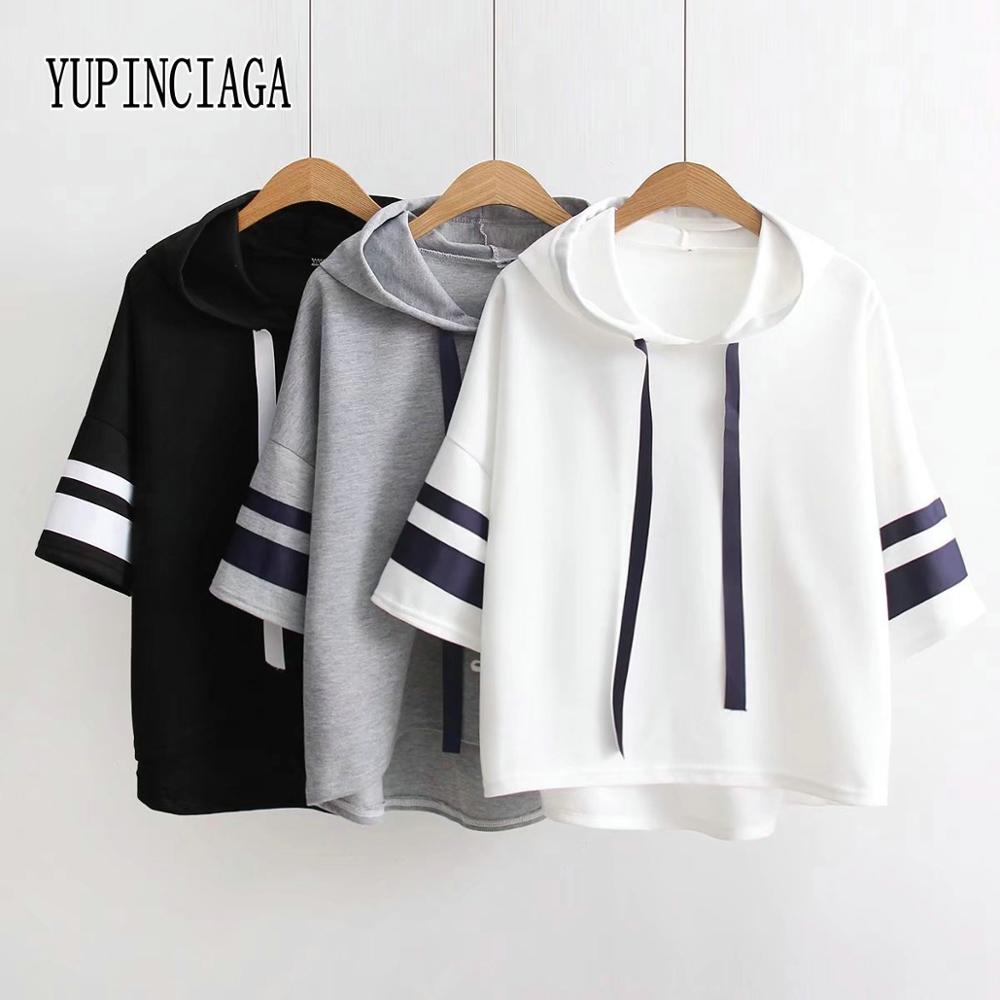 YUPINCIAGA Women Webbing Short Sleeves Loose Solid Color Hooded Striped Sleeves Lace-up Pullover T-shirt New Summer T Shirt