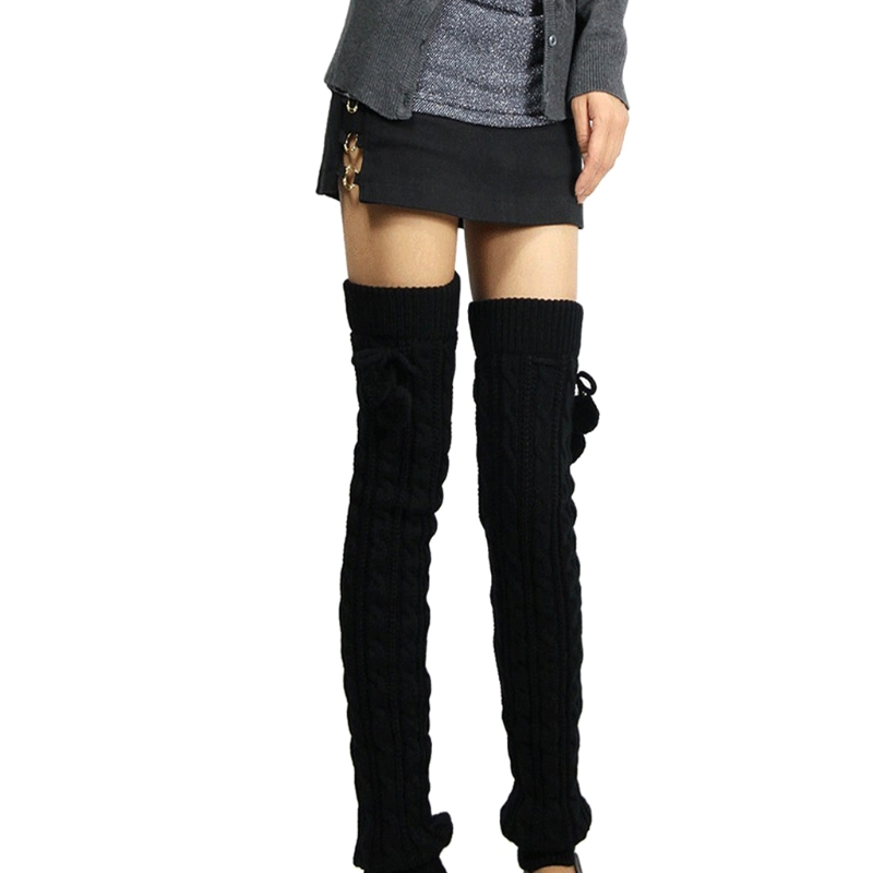 Women Winter Leg Warmers Knee High Thigh High Tie Cable Knitted Long Boot Socks