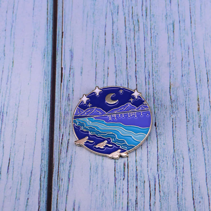 Moon Stars Mountains River Enamel Pin Round Blue Brooch For Coat Lapel Skirt Swearter Badge(China)