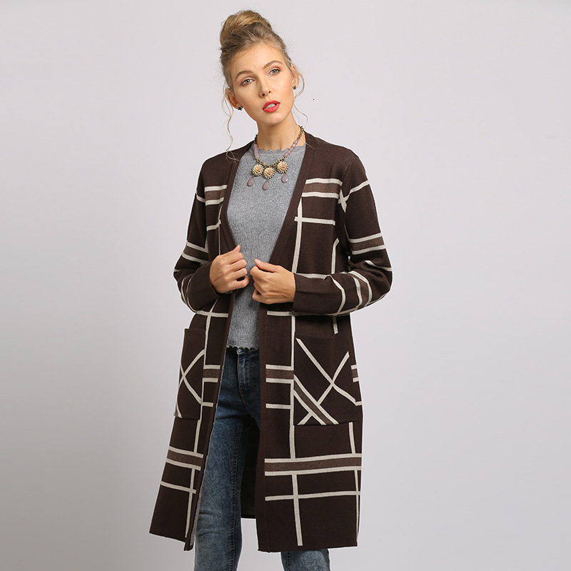 Women Striped Casual Cardigan V Neck Pockets Long Knitted Sweater Coat Autumn Winter Ladies Warm Cotton Outwear Manteau Femme