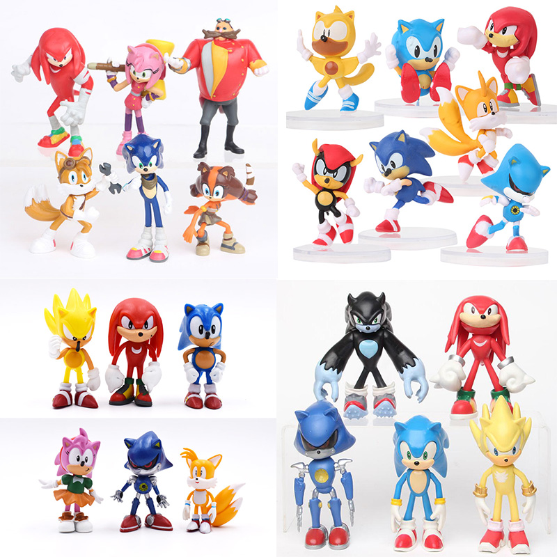 6-12cm Anime Action Figure Pvc Toy Sonic Shadow Tails Characters Figure Toys For Children Animals Toys Set Kids Toys