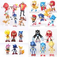 6-12cm anime figura de ação pvc brinquedo sonic sombra caudas personagens figura brinquedos para crianças animais conjunto crianças brinquedos