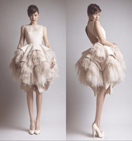 Little White Dress 2020 Champagne Short Prom Party Dresses Luxury Feather Ruffles Tiered skirt evening homecoming dress