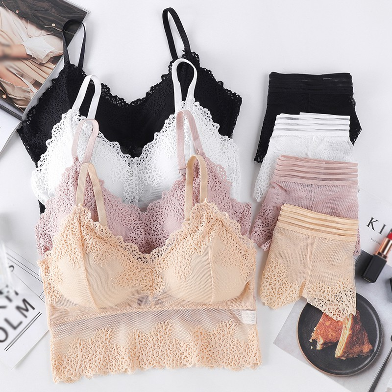 Women V-Neck Lace Gathered Bra Set Female Wrapped Chest Lace Bras With Brief Two Piece Suit