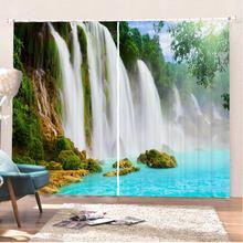 Занавески на окно с водопадом 2 панели природные пейзажи украшение
