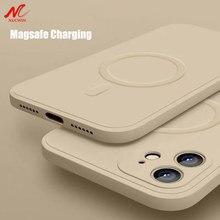 Caso magnético de silicone líquido para o iphone 12 pro max 11pro x xs xr 7 8 plus 12 mini carregador sem fio magsafing ímã capa traseira