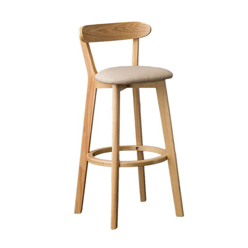 Solid Wood Bar Stool Backrest Chair Nordic  Table And  High    Modern Minimalist
