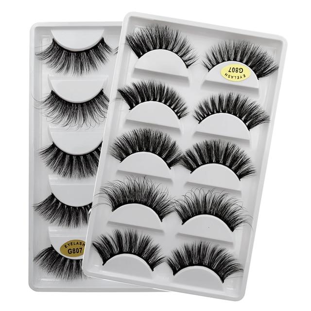 SHIDISHANGPIN 5 pairs eyelashes 3d mink lashes natural long 1 box mink eyelashes 1cm-1.5cm 3d false eyelashes full strip lashes 4