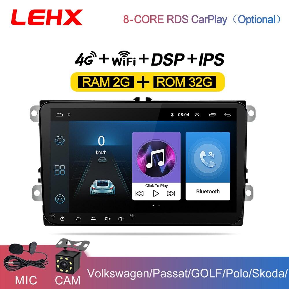 Автомагнитола LEHX, 9 дюймов, Android 9,0, GPS, 2 Din, USB, для VW Skoda Octavia golf 5 6 touran passat B6 jetta polo tiguan