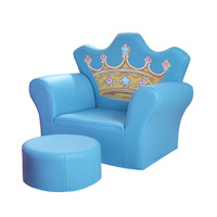 Lovely Cartoon Princess crown kids mini sofa with stool children's furniture leather baby sofa for kids chair bed room chair