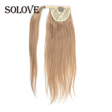 Paardenstaart Menselijk Haar Machine Remy Straight Europese Paardenstaart Kapsels 80G 100% Natural Hair Clip In Extensions(China)